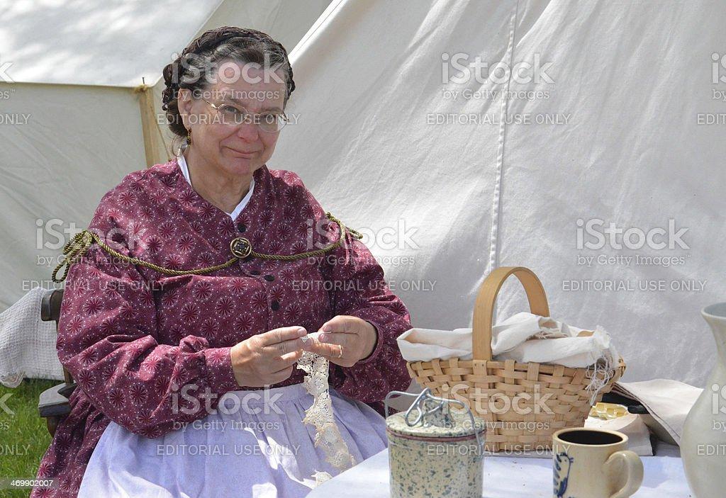 Civil-war era reenactor tatting stock photo