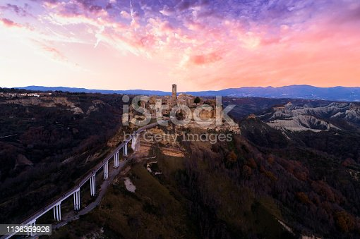 Aerial View of Civita Di Bagnoregio at Sunset - Central Italy