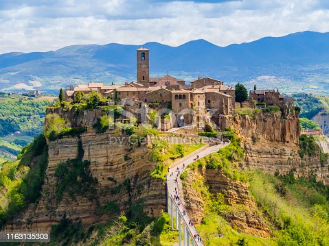 Stunning view of Civita di Bagnoregio, ghost mediaeval town built above a plateau of friable vulcanic tuff, Lazio, central Italy