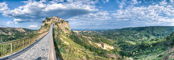 Civita di Bagnoregio, HDR panorama stock photo