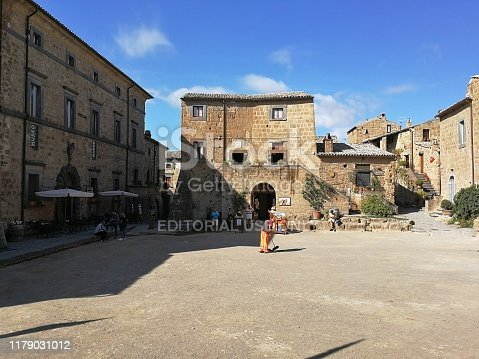 Civita di Bagnoregio, Lazio, Italy - 10 September 2019: Alleys of the village