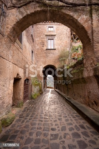 The road to exit from Civita di Bagnoregio, Italy