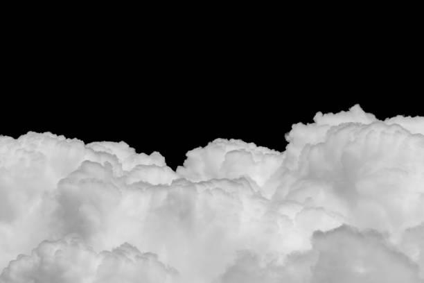 Ckose-up Cumulus cloud on black background stock photo