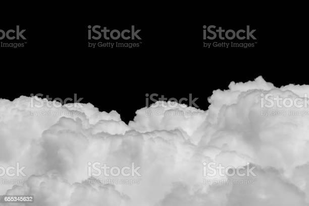 Photo of Ckose-up Cumulus cloud on black background