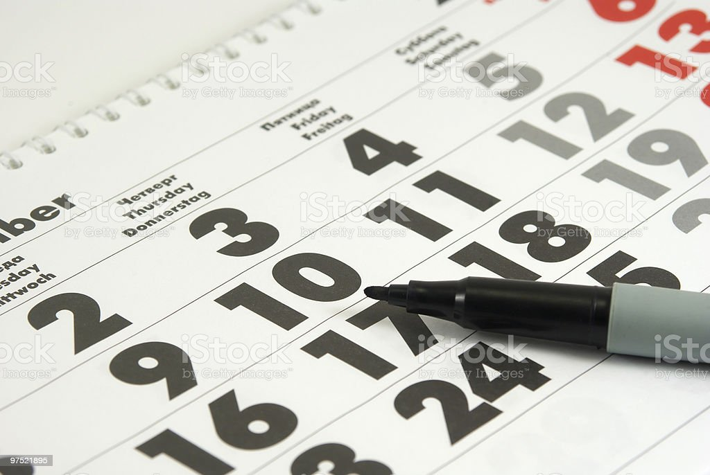 Claendar and marker royalty-free stock photo