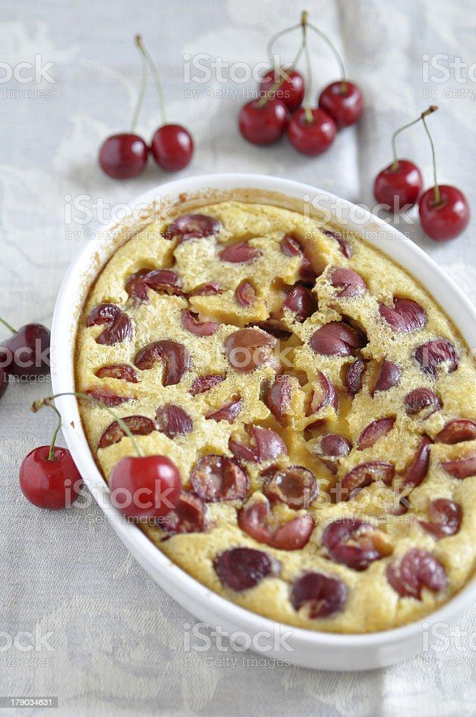 Clafoutis with sour cherry stock photo