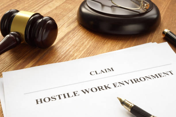 Claim about hostile work environment in a court. Claim about hostile work environment in a court. harassment stock pictures, royalty-free photos & images