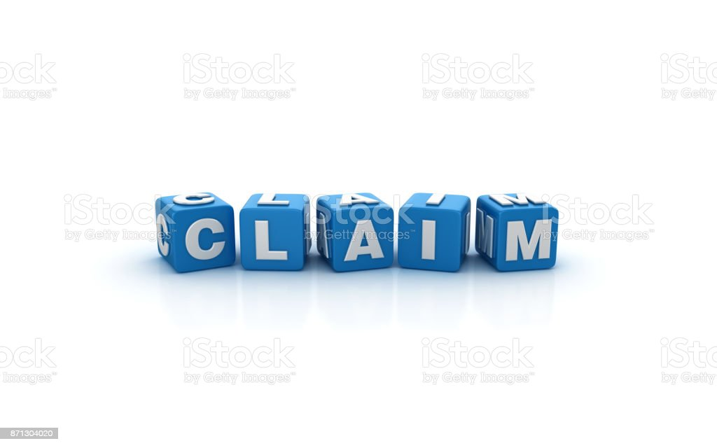 Claim Buzzword Cubes - 3D Rendering stock photo