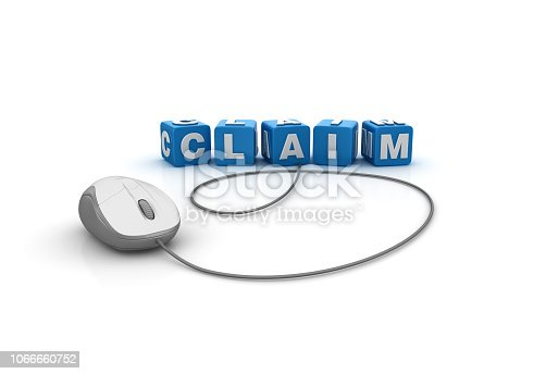 Claim Buzzword Cubes with Computer Mouse - White Background - 3D Rendering