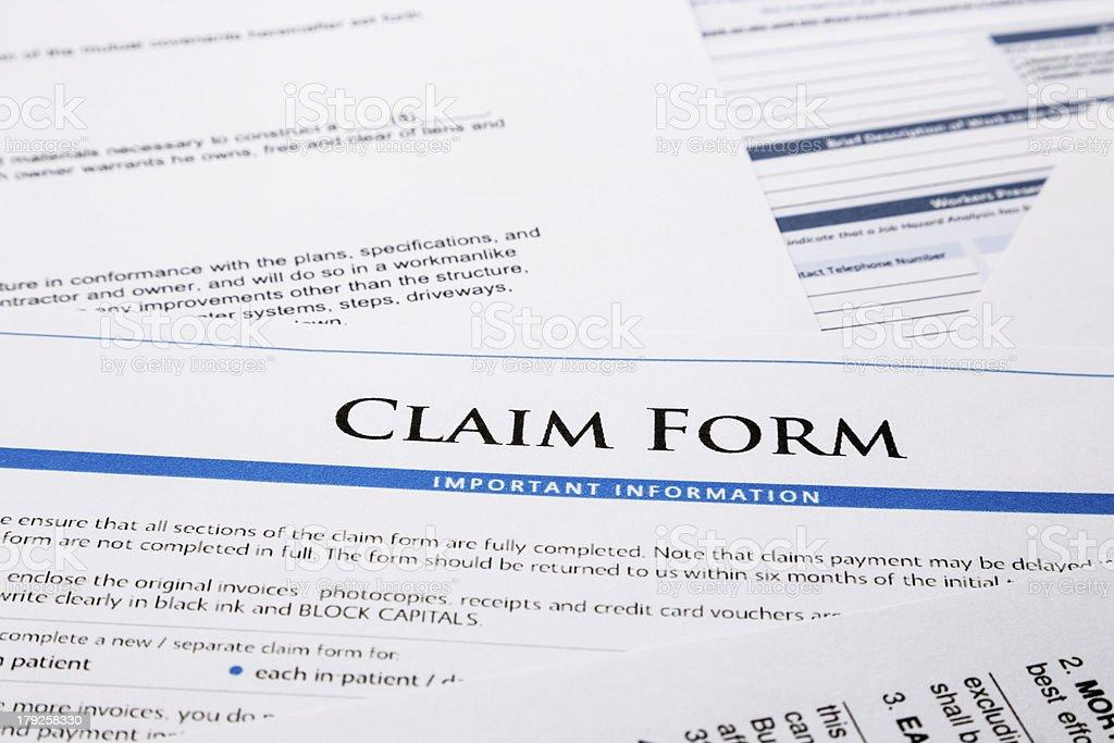 Claim form stock photo