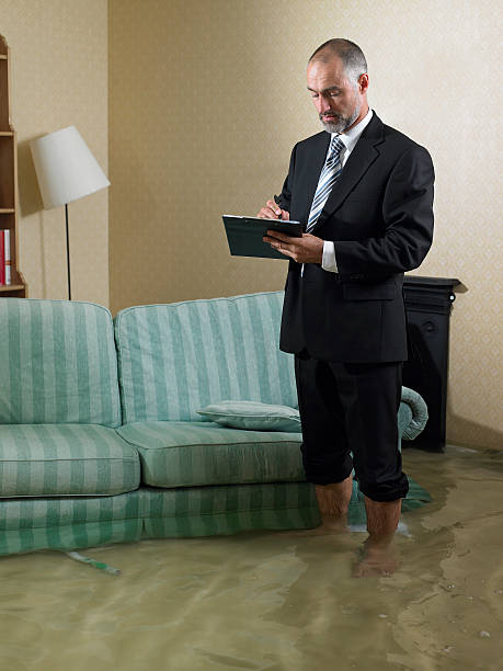 claims adjuster standing in flooded living room - flooded room stock photos and pictures