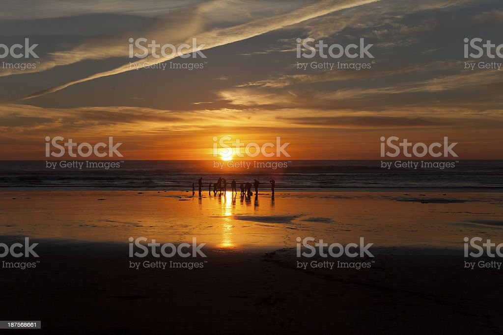Clam diggers at sunset royalty-free stock photo