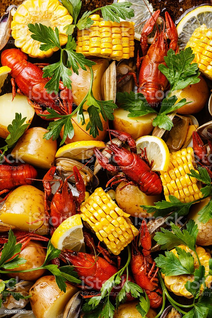 Clambake Seafood boil stock photo