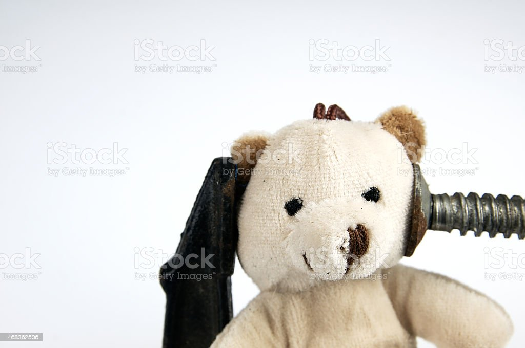Clamp on the head teddy bear toy. royalty-free stock photo