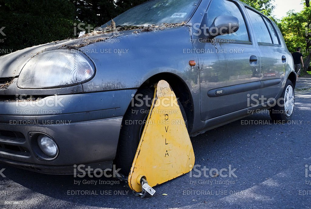 Clamped car stock photo