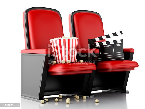 istock Clapper board and popcorn on read theater seats 469944240