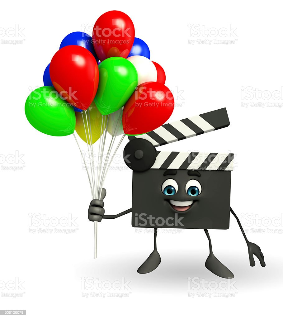 Clapper Board Character with balloons stock photo
