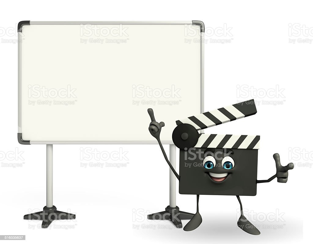 Clapper Board Character with display board stock photo