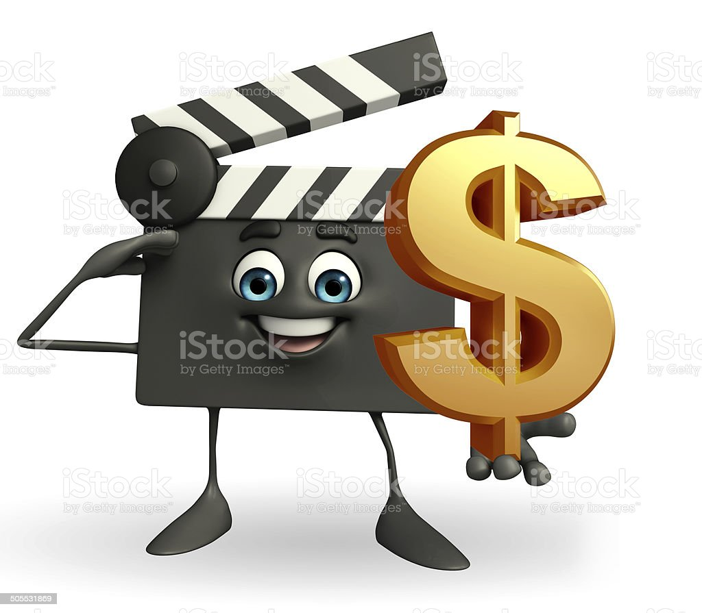 Clapper Board Character with dollar sign stock photo