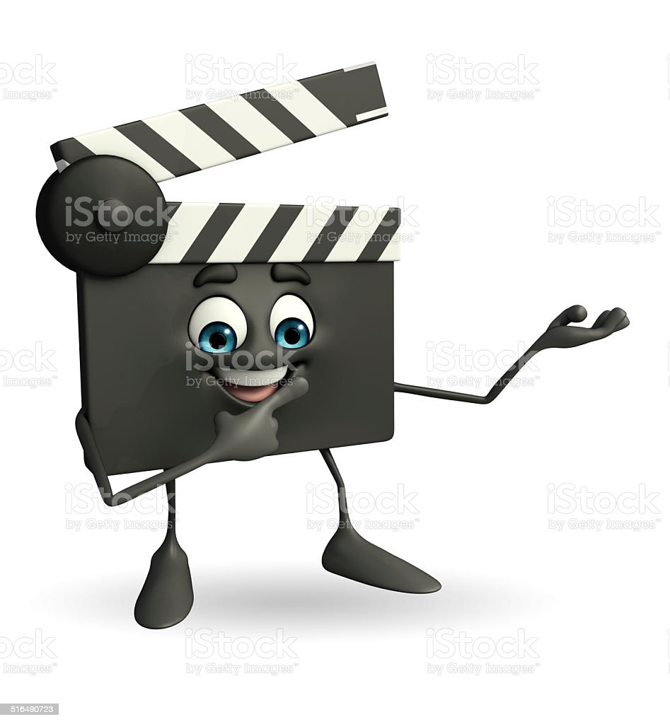 Clapper Board Character with holding pose stock photo
