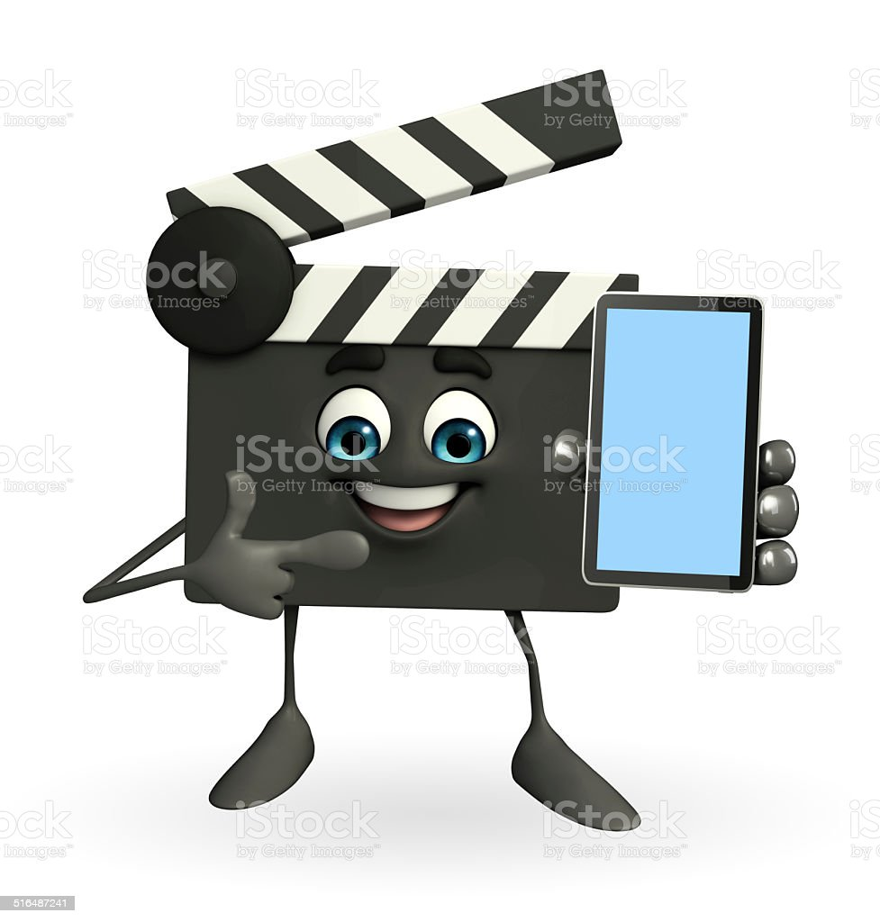 Clapper Board Character with mobile stock photo