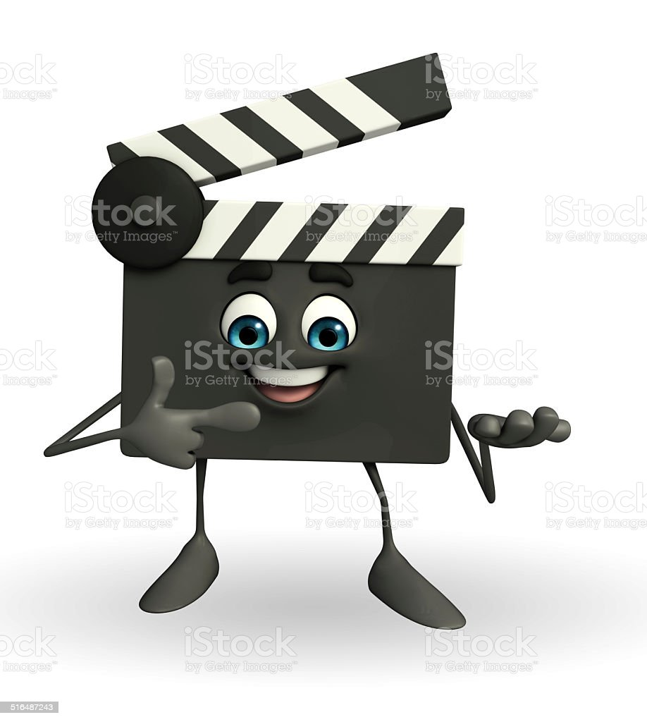 Clapper Board Character with pointing pose stock photo