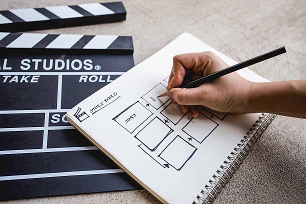 clapperboard with sketchbook for writing storyboard - hand constructing industry stockfoto's en -beelden