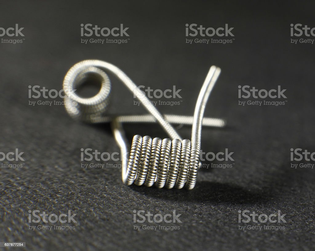 Clapton coil build for vaping rebuildable atomizer stock photo