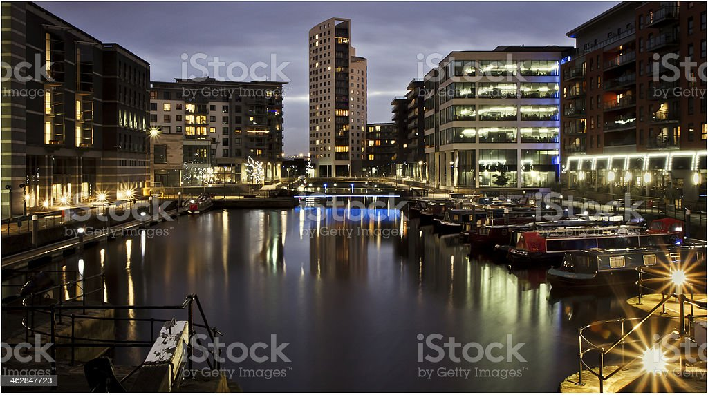 Clarence Dock at Night stock photo