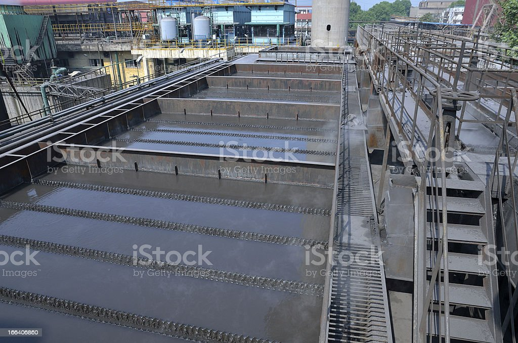 Clarifier tank in sewage treatment plant royalty-free stock photo