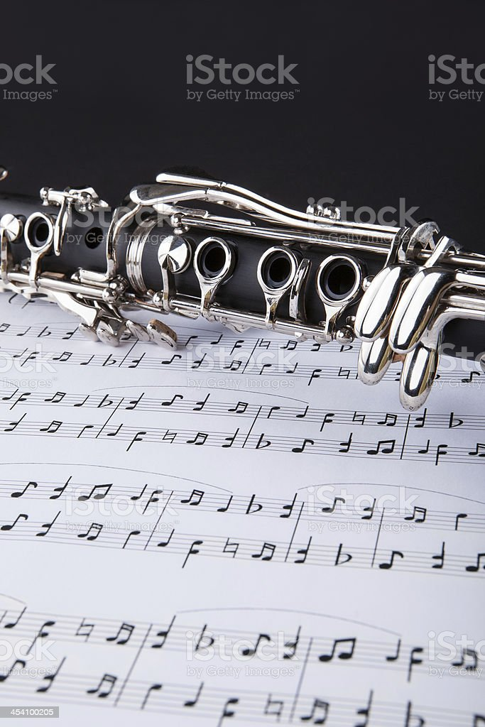 Clarinet And Musical Note royalty-free stock photo