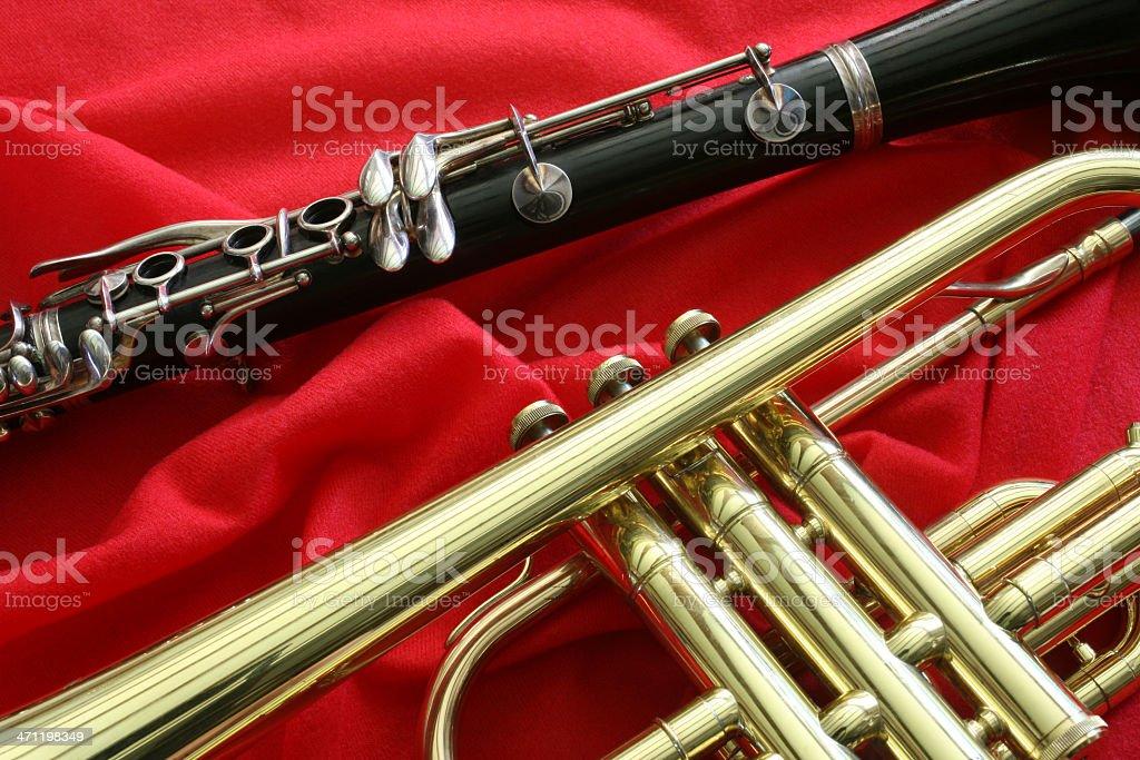 Clarinet and Trumpet Closeup royalty-free stock photo