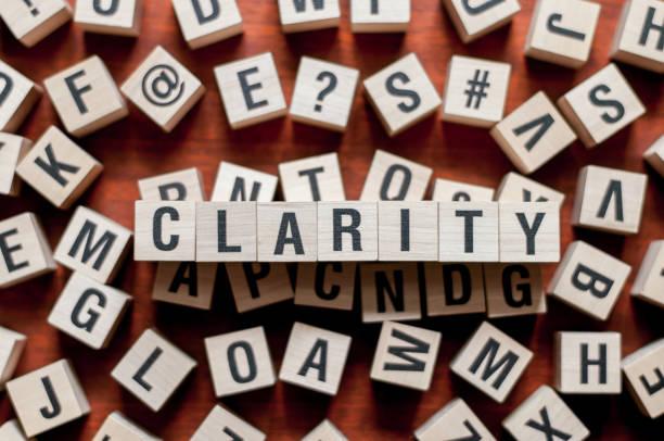 clarity word concept - прозрачный стоковые фото и изображения