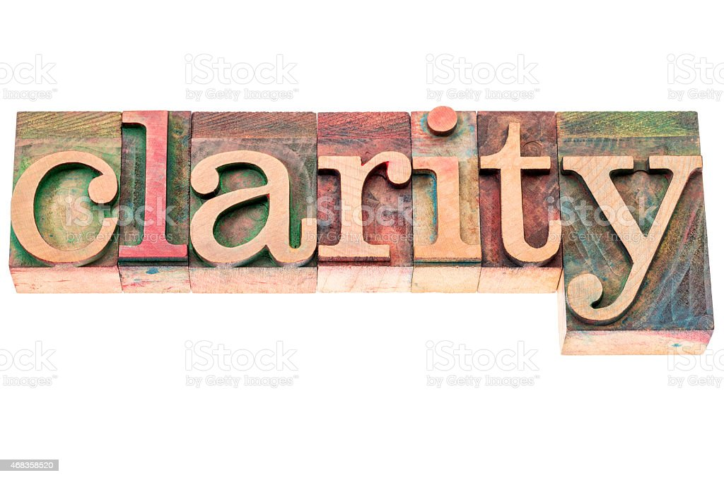 clarity word in wood type royalty-free stock photo
