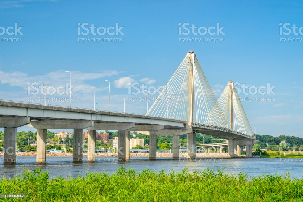 Clark Bridge over Mississippi River stock photo