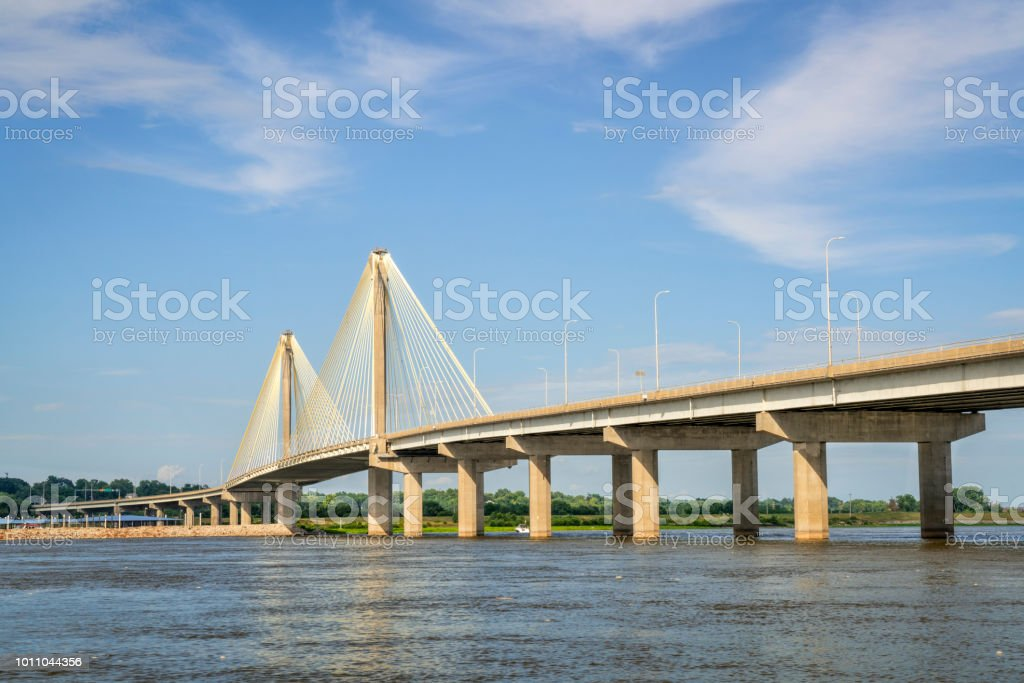 Clark Btridge over Mississippi River stock photo