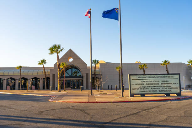 clark county regional government center building in laughlin, nevada - clark county nevada stock pictures, royalty-free photos & images