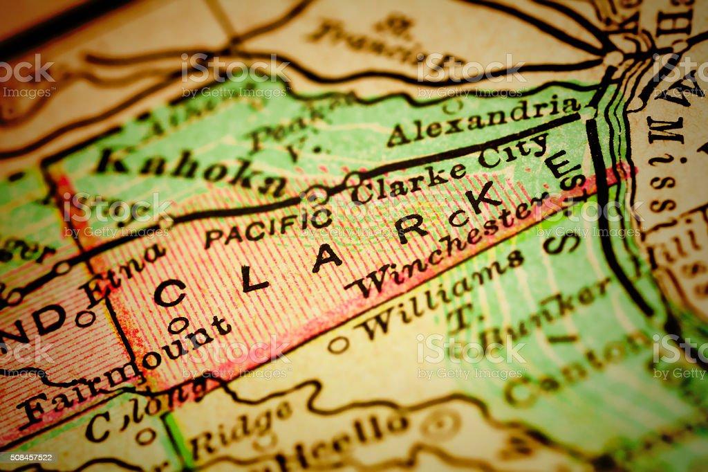 Clark   Missouri County maps stock photo
