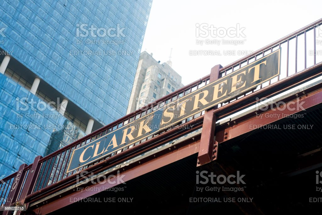 Clark Street Bridge Sign with Downtown Chicago Skyscrapper Buildings stock photo