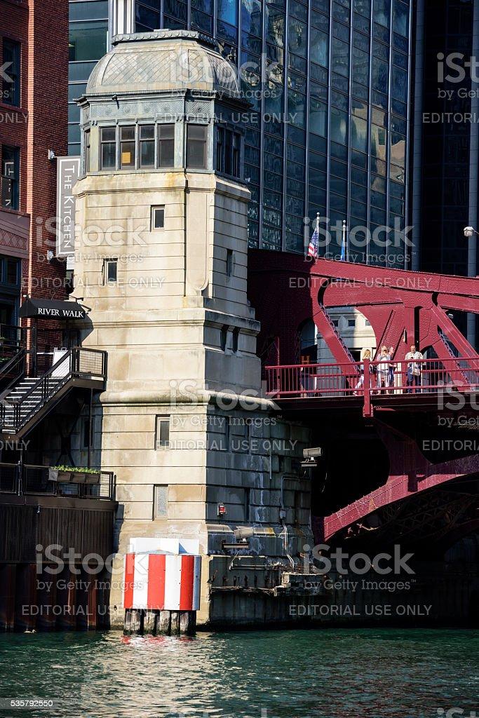 Clark Street Bridgehouse on The Chicago River stock photo