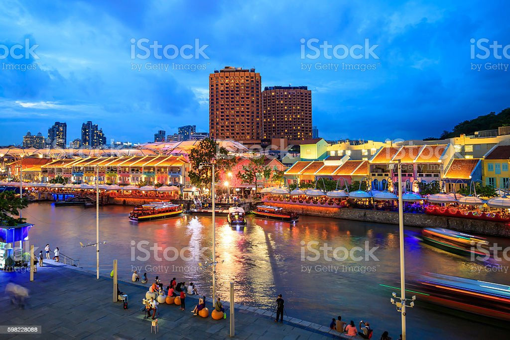 Clarke Quay in downtown Singapore foto royalty-free