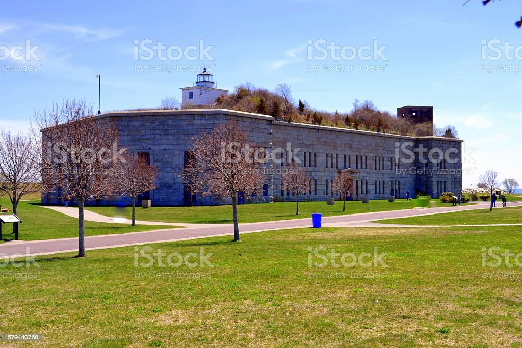 Clarks Point Lighthouse/Fort Tabor stock photo