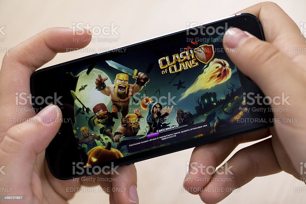 Clash of Clans on Iphone 5 with IOS 7 stock photo