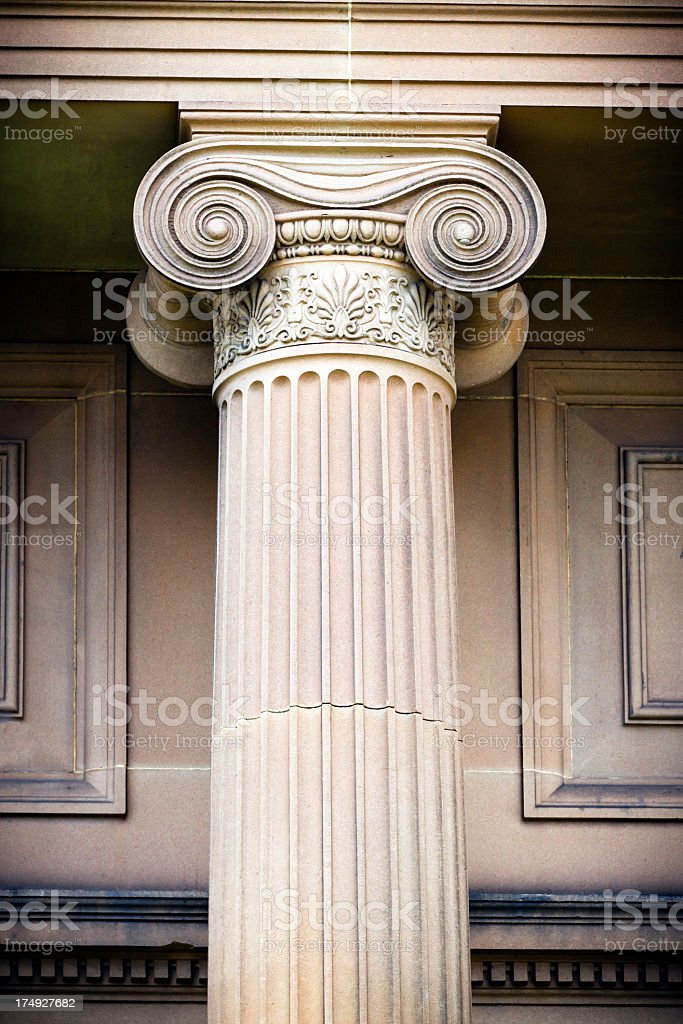 Clasical sandstone column with vignette stock photo