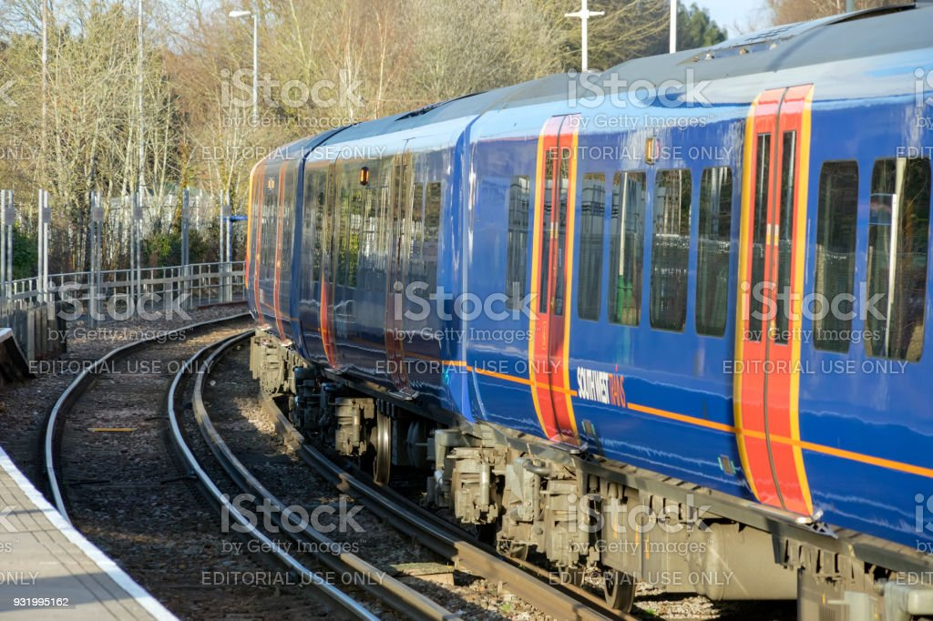 Class 45) Desiro train at Alton Station in Hampshire, UK stock photo