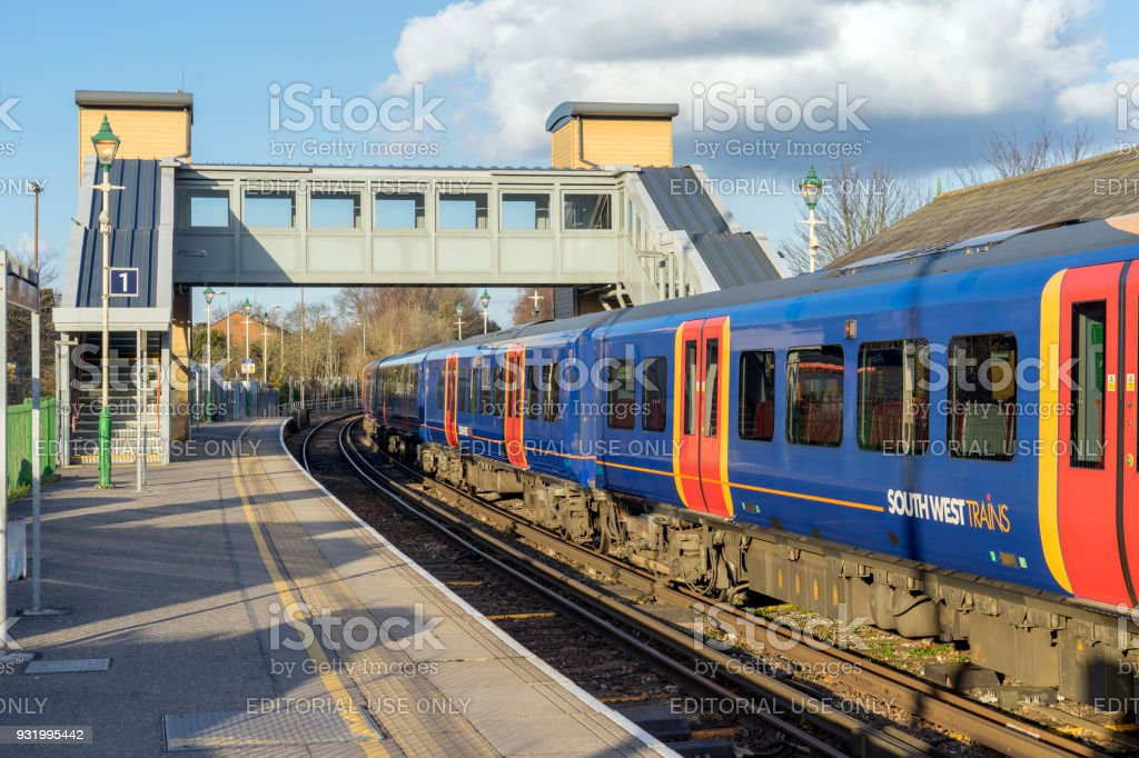 Class 45) Desiro train at Alton Station in Hampshire, UK stock photo