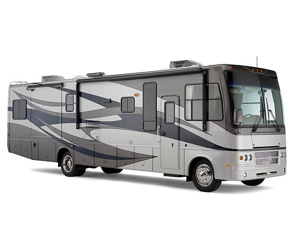class a motorhome isolated on white background with drop shadow - motorhome stock photos and pictures