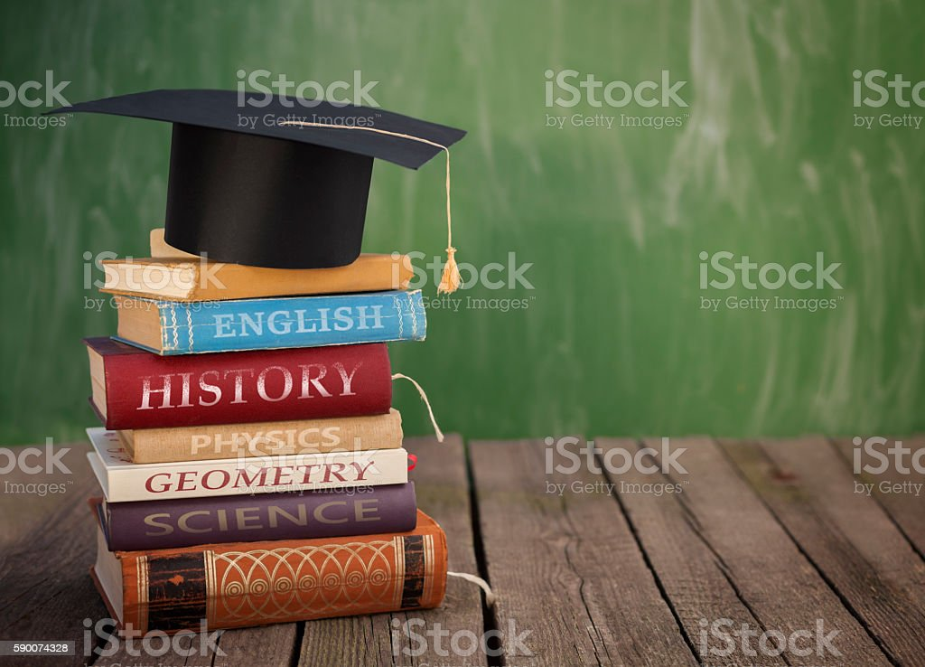 Class books ready for school stock photo
