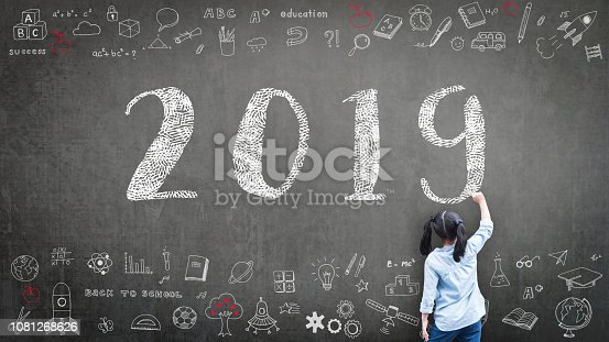 istock 2019 class new calendar year greeting by kid's hand drawing on school teacher's chalkboard with student's educational doodle for new academic year, education semester, classroom schedule concept 1081268626