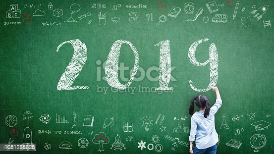 istock 2019 class new calendar year greeting by kid's hand drawing on school teacher's chalkboard with student's educational doodle for new academic year, education semester, classroom schedule concept 1081268628